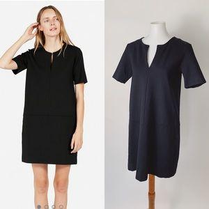 EVERLANE Ponte Short Sleeve Notched V Dress